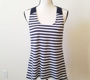 Anthropologie One September Striped Blue Tank Top